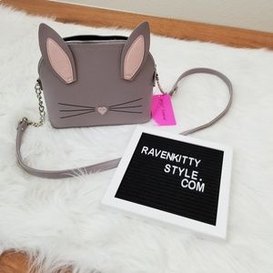 NWT Betsey Johnson Grey Bunny Crossbody Purse